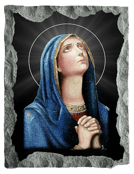 Image of The Virgin Mary etched and hand painted in color on black granite.