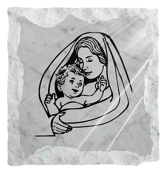 Image of Our Lady holding the Child Jesus etched on a white marble background