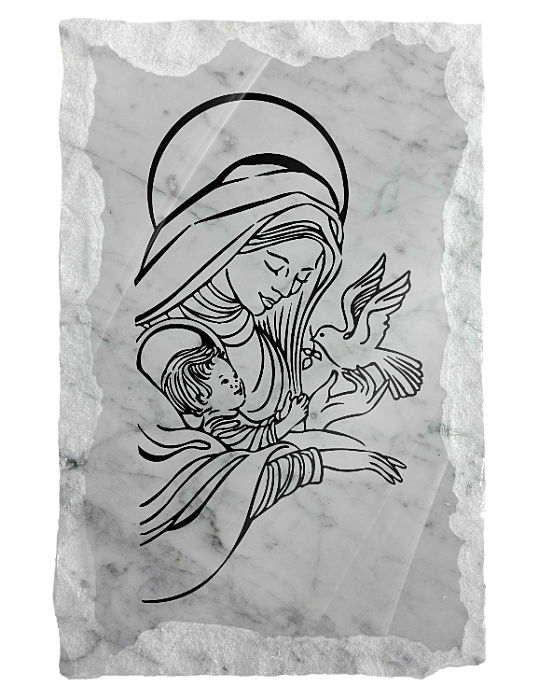 Image of Our Lady, Baby Jesus and the Holy Spirit etched on a white marble background