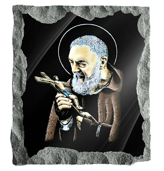 Image of Saint Padre Pio Holding a crucifix etched and hand painted in color on black granite.
