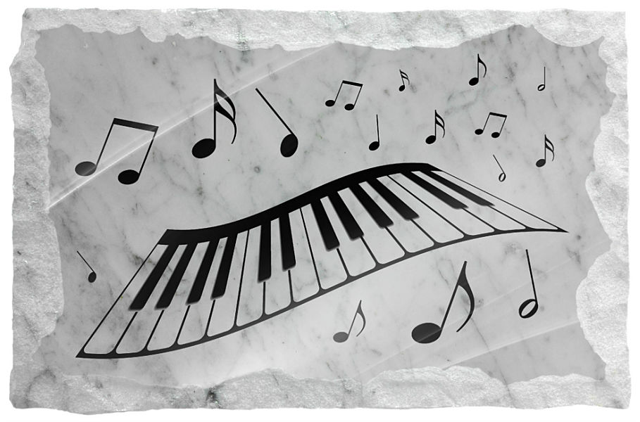 Image of Piano Keyboard with music notes etched on a white marble background