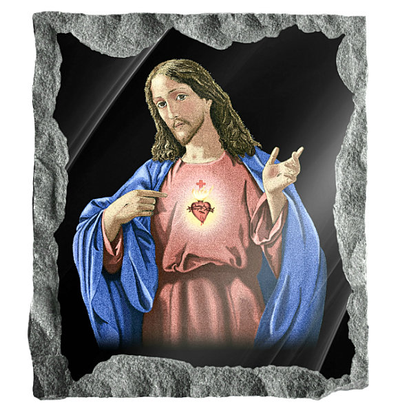 Image of Sacred Heart of Jesus etched and hand painted in color on black granite.
