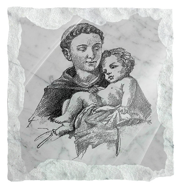 Image of Saint Anthony holding the Child Jesus etched on a white marble background