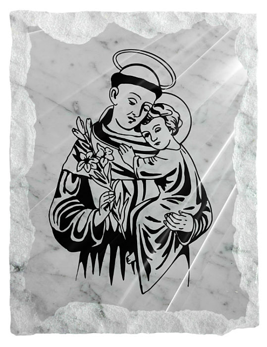 Image of Saint Anthony with the Child Jesus etched on a white marble background