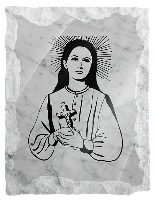 Image of Saint Clelia Barbieri etched on a white marble background