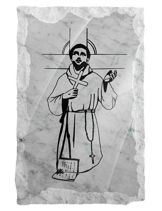 Image of Saint Francis of Assisi etched on a white marble background