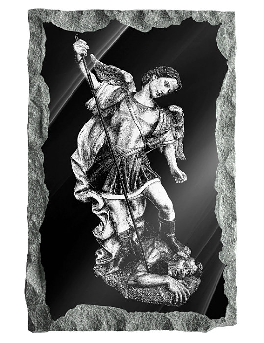 Image of Saint Michael the Archangel etched on a black granite background