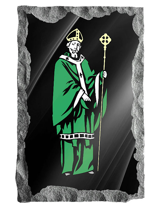 Traditional image of Saint Patrick etched in color on black granite.