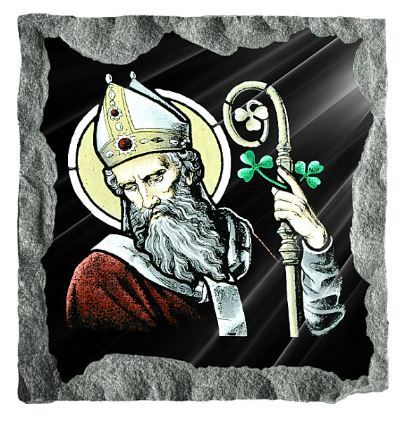 Image of Saint Patrick etched and hand painted in color on black granite.