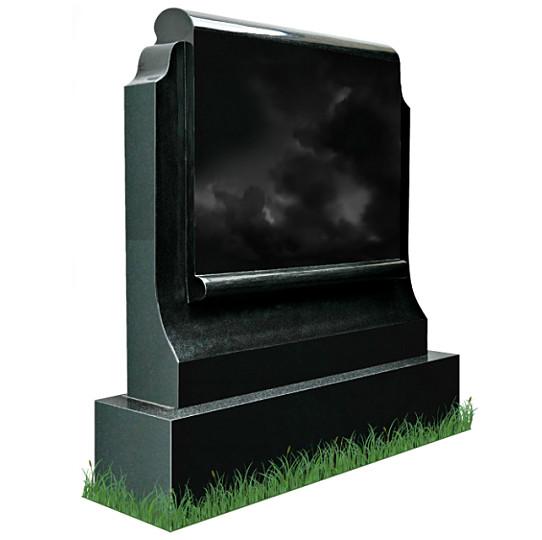 Simple Scroll Memorial Headstone (angle View) in Black Granite.
