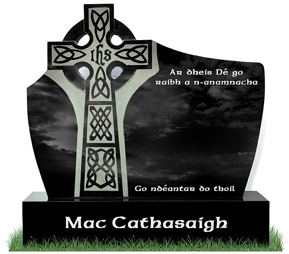 D.T. Celtic Cross Headstone in Black Granite. Celtic Cross engraved into left side. All inscriptions engraved in silver. Font: Ennis Celtic