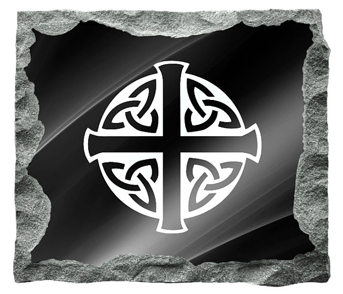 Cross with Celtic Knots etched on a black granite background