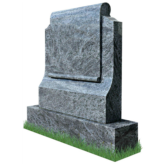 Simple Scroll Memorial Headstone (angle view) in Bahama Blue Granite. Image of cross with dove engraved in silver and gold on each side. Inscriptions engraved in gold leaf. Font: Standard Celtic lettering.