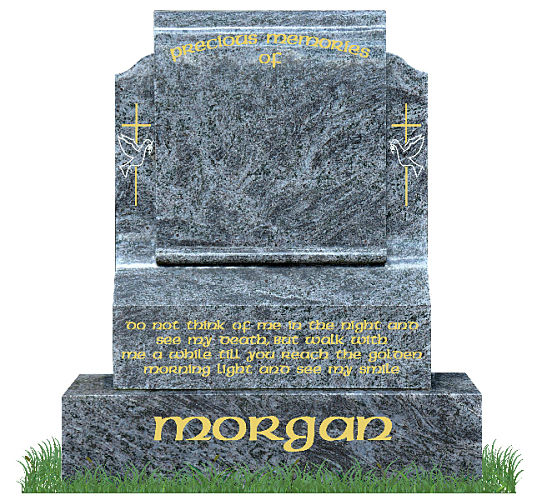 Simple Scroll Memorial Headstone in Bahama Blue Granite. Image of cross with dove engraved in silver and gold on each side. Inscriptions engraved in gold leaf. Font: Standard Celtic lettering.