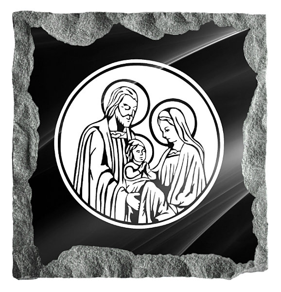 Image of the Holy Family etched on black granite.