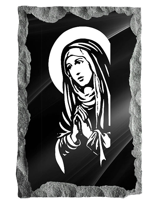 The Virgin Mary praying etched on black granite.