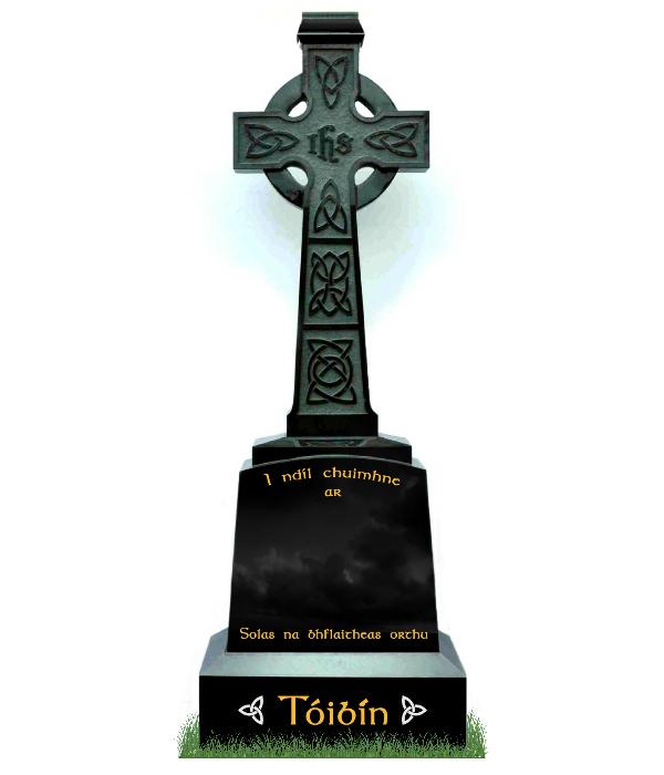 Irish Celtic Cross no2 in Black Granite. Carved Celtic Lacing on main cross. Inscriptions in matte black. Font: Dublin Celtic Lettering.