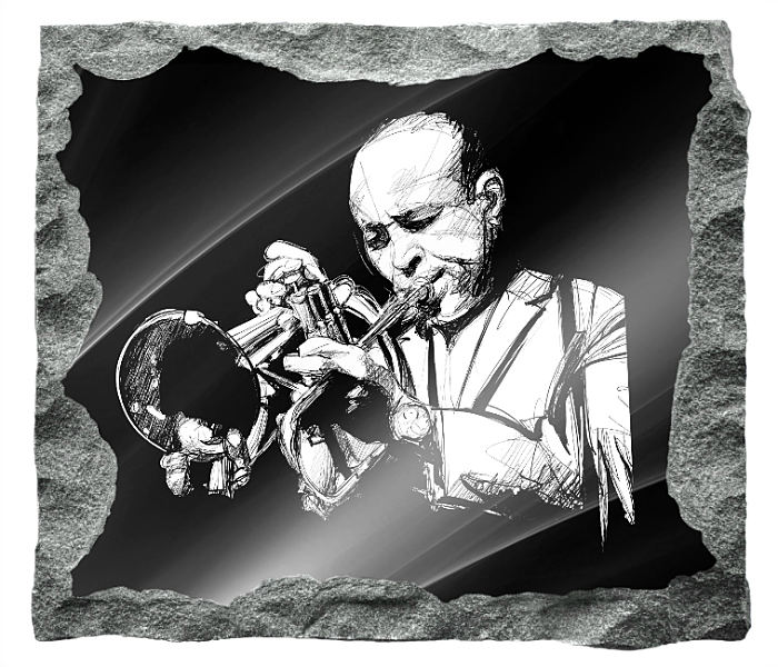 Image of Trumpet Player etched on a black granite background