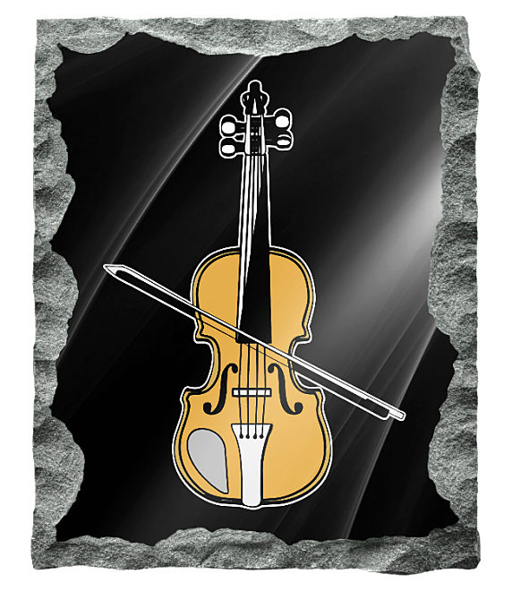 Image of a violin etched in silver and gold on a black granite backgrund