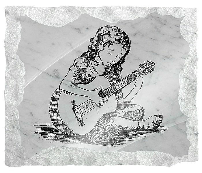 Image of a young girl guitarist etched on white marble background