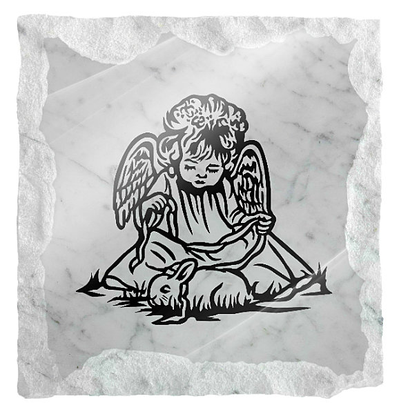 Image of an Angel playing with a rabbit etched on a white marble background