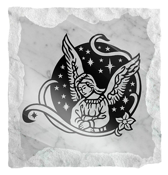 Image of an Angel with stars etched on a white marble background