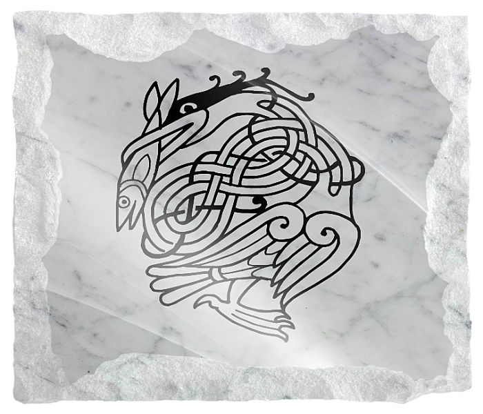 Irish Celtic Memorial Image etched on a white marble background