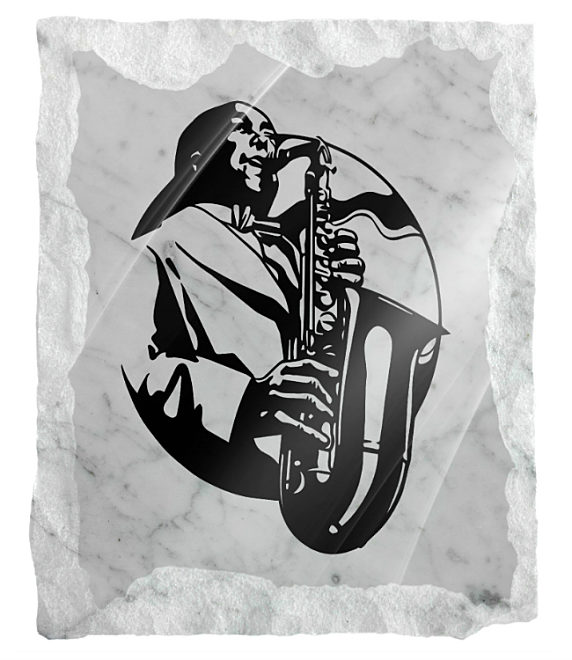 Image of man playing saxophone etched on a white marble background