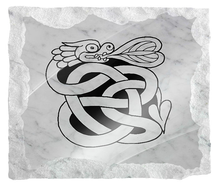 Celtic Image of a serpant etched on a white marble background
