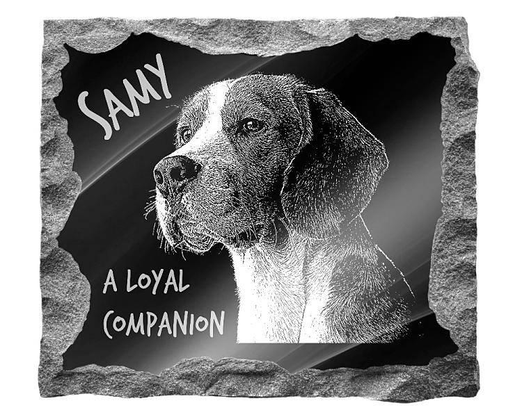 Beagle Dog Memorial. Image and inscription etched on polished black granite with a natural outer edge chisel finish. Plaque size: 16