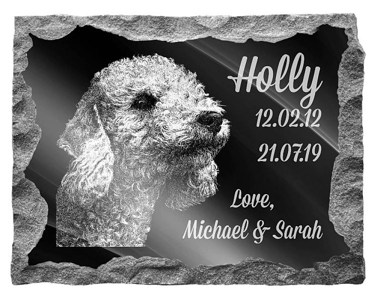Bedlington Terrier Dog Memorial. Image and inscription etched on polished black granite with a natural outer edge chisel finish. Plaque size: 20