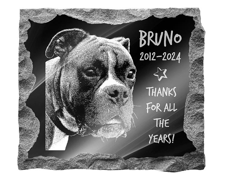 Boxer Dog Memorial. Image and inscription etched on polished black granite with a natural outer edge chisel finish. Plaque size: 16