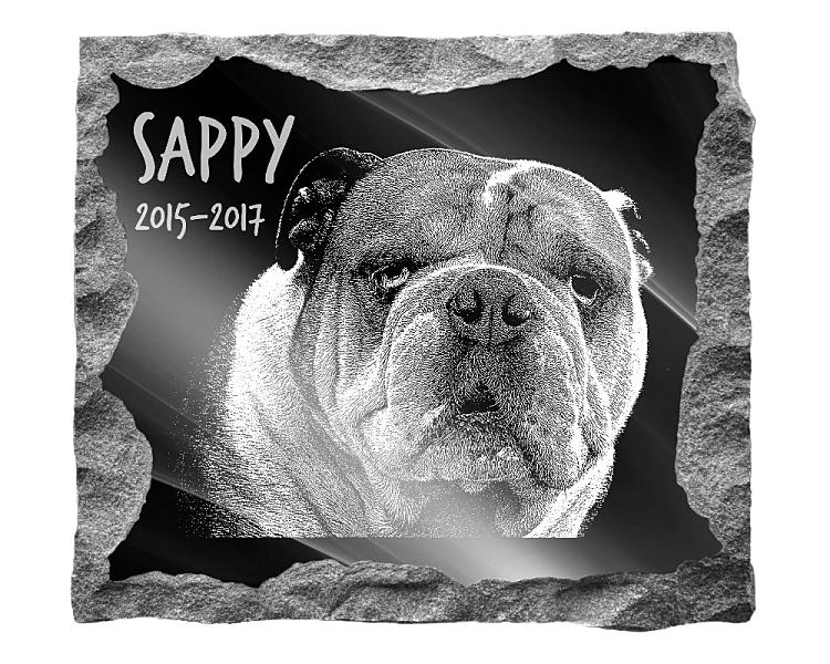 British Bulldog Memorial. Image and inscription etched on polished black granite with a natural outer edge chisel finish. Plaque size: 16