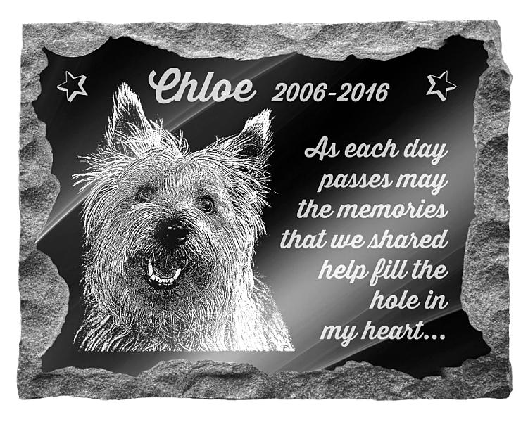 Cairn Terrier Dog Memorial. Image and inscription etched on polished black granite with a natural outer edge chisel finish. Plaque size: 20