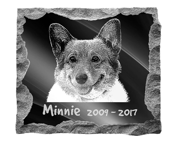 Corgi Dog Memorial. Image and inscription etched on polished black granite with a natural outer edge chisel finish. Plaque size: 16