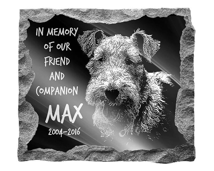 Fox Terrier Dog Memorial. Image and inscription etched on polished black granite with a natural outer edge chisel finish. Plaque size: 16