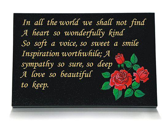 Red Roses Memorial Plaque