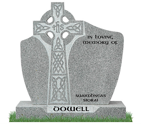 D.T. Celtic Cross Headstone in Grey Granite. Celtic lacing engraved in silver and inscriptions engraved in matte black. Font: Gandalf Bold Lettering.