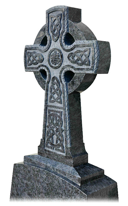 Detail on Irish Celtic Cross no1. Celtic Lacing engraved into cross with roped edge carved onto the front and back. IHS (I have suffered) engraved in the center of the cross