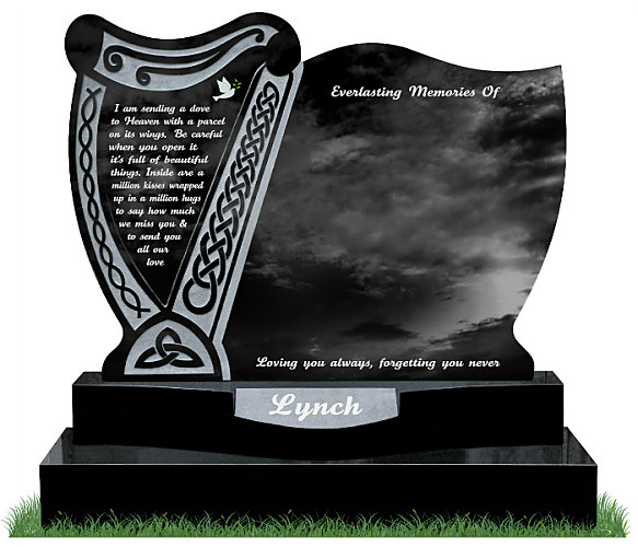 Irish Harp Headstone in Black Granite. Exclusively designed by Treanor Stone-Tec. This headstone incorporates a harp with Celtic lacing and a curved sunken base for a surname. Inscriptions engraved in silver. Font: Tartine Script lettering.
