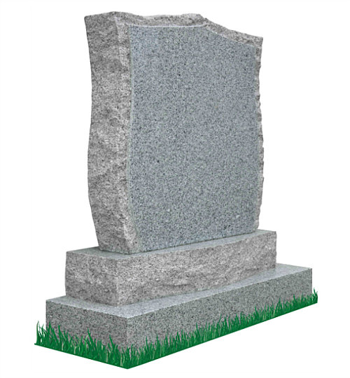 Curved Apex Headstone with curved sub-base (angle view) in Grey Granite. Celtic Design and Latin verses engraved in matte black. Font: Times Roman 93.