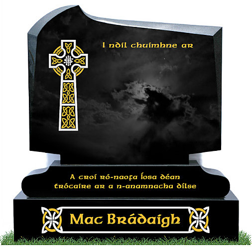 New Tno5 with round sub-base in Black Granite. Celtic Cross image and Celtic designs on Base engraved in gold leaf and silver. Inscriptions in gold leaf. Font: Gandalf Bold lettering.